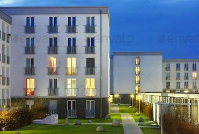 University Dormitory At Night