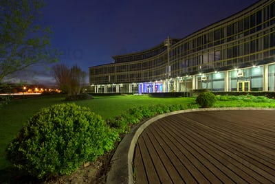 Building in a business park at night