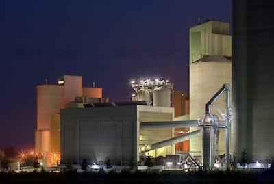 Colorful Cement Factory At Night