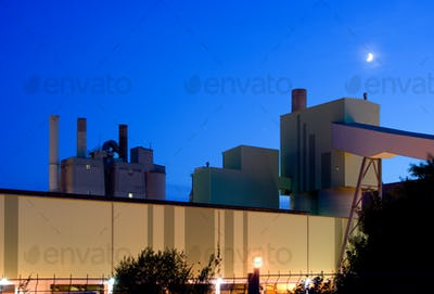 Industrial Building And Moon At Night
