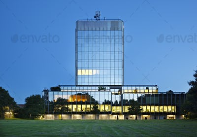 Modern Bank Building In The Evening