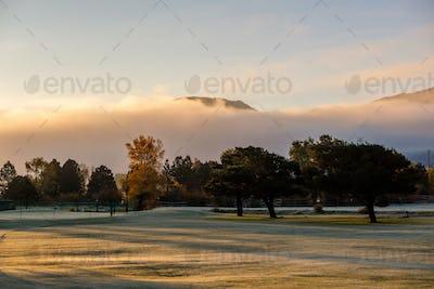 Sunrise foggy landscape in Colorado, USA