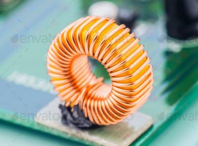 microcoil mounted on electronic circuit board