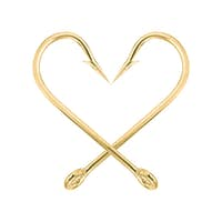 Gold fish hook isolated on a white-5