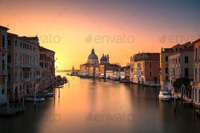 Venice grand canal, Santa Maria della Salute church landmark at