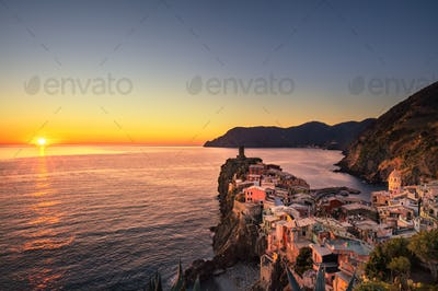 Vernazza village, aerial view on red sunset. Cinque Terre, Ligur