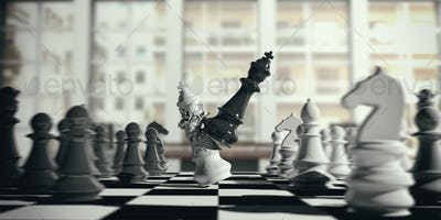 White chess king broken by the black king, on a chessboard, blur background. 3d illustration