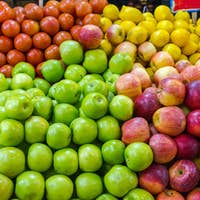 Apples, lemons and tomatoes for sale