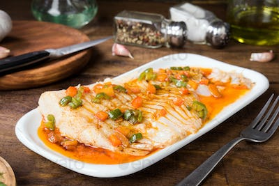 fresh cod fillet cooked in classic wood