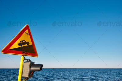 Slope traffic signal on a vessel. Caution alert curiosity warning. Horizontal