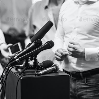 Businessman during press conference