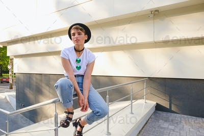 Young hipster woman relaxing