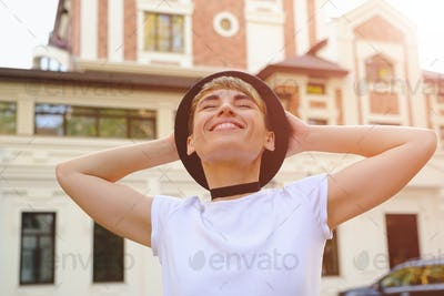 Woman enjoying a beautiful day in the city