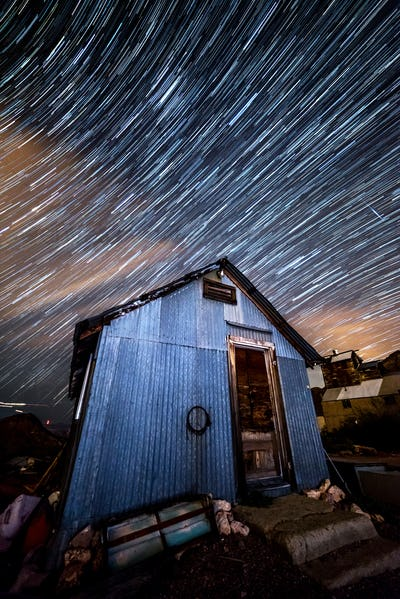Star trails in old mining town