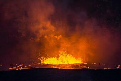Boiling lava in Kilauea Volcano