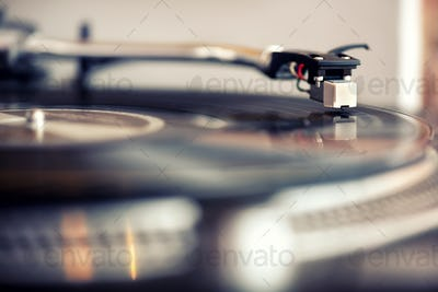 Low angle view of a needle on a gramophone record