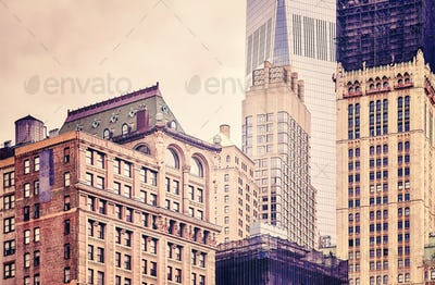Old and modern buildings in New York City, USA.