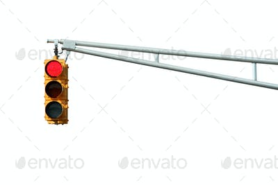 Isolated Red traffic signal light