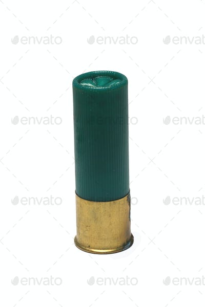 Isolaged 12 gage green shotgun shell