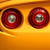 Yellow sporst car tail lights