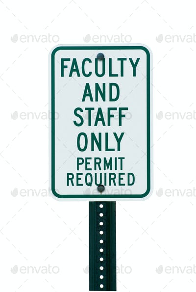 School faculty parking sign
