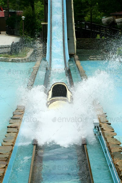 Log flume amusement park ride