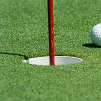 Golf ball near the cup