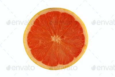 Isolated pink grapefruit half on white