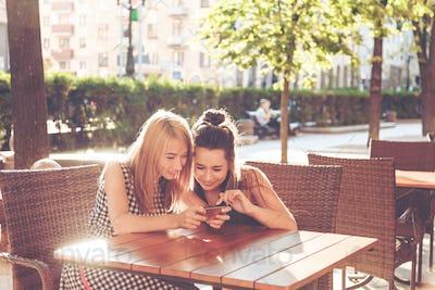 Women are using smartphone