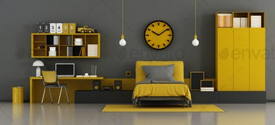 Black and yellow kids room