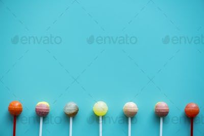 Flat lay of lollipops isolated