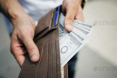 A doller bills in a wallet