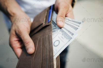 A doller bills in a wallet