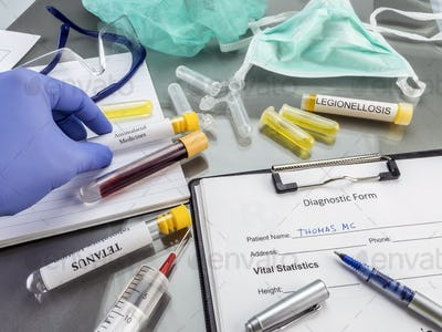 Doctor working with samples of contagious diseases in a clinical laboratory