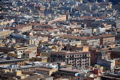 Aerial view of the city of Rome, Italy. Drone shot of Roma, above view of the buildings