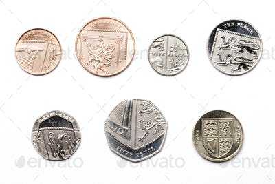 British coins on a white background