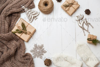 Christmas, winter, new year concept. Flat lay, top view, copy space