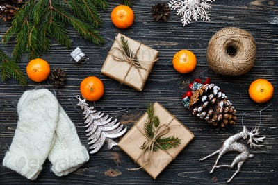 Gift boxes and winter Christmas decorations