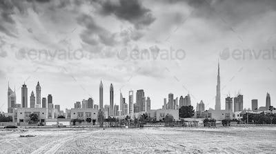 Panoramic picture of Dubai skyline, UAE.