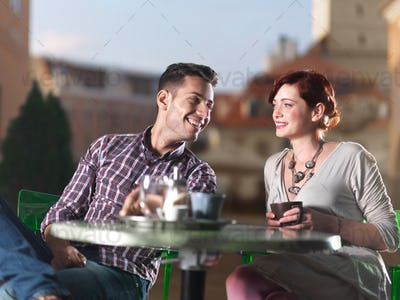 beautiful couple at coffee