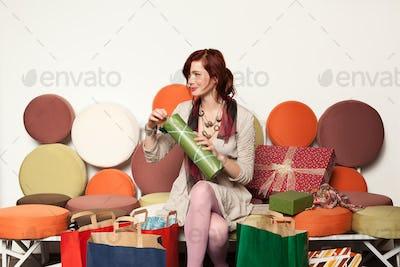 woman checking gift