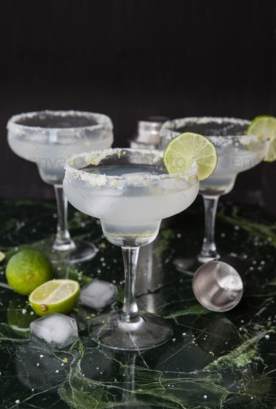 Ice cold Margarita cocktails