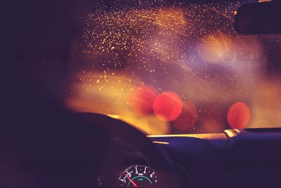 On the road on a rainy night