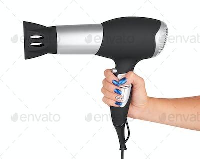 Hair dryer in hand