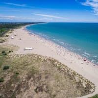 Italy, the beach of the Adriatic sea. Rest on the sea near Venic
