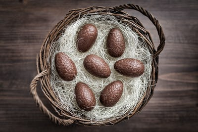 Chocolate Easter eggs in a basket on wooden background