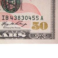 Corner of a US fifty dollar bill