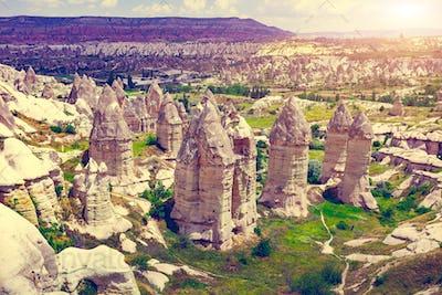 Spectacular rocks formations in Cappadocia