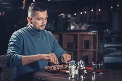 Handsome man at restaurant