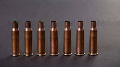 Empty rifle cartridges.